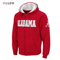 alabama university - Winter New High Quality Men s Hooded Sweatshirt University Of Alabama Zippered Hoodies in Red Mens Jacket
