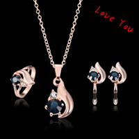 Wholesale 2016 Korean Women Jewelry Set Cubic Zirconia Pendant Necklace Earrings Ring Jewelry Set for Party Wedding Fashion Jewelry Accessories