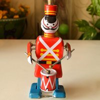 Wholesale Marching Band Robot Classic Toys Play The Drums Tin Clockwork Toy Retro Adult Collection Gift