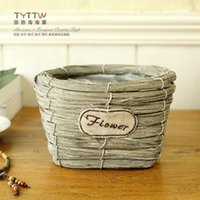 Wholesale Pastoral style handmade rattan storage basket stitching the words FLOWER basket rattan Flowers basket Home Furnishing decoration