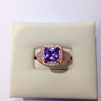 Wholesale 2016 New fashion personality S925silver purple Zircon Rose gold plated Opening can be adjusted Ring christamas gift women party