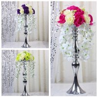 Wholesale Wholesales Height cm Wedding Candle Holder Romantic Standing Wedding Candlestick Wedding Flower Stands Silver Candelabra Xmass Candle Hold