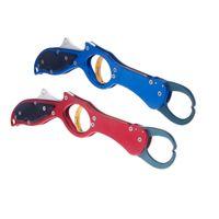 achat en gros de pince pêche-Portable en acier inoxydable Pêche Plier Poisson Lip Gripper Grabber Controller Hook Remover Lure outil de pêche Tackle Rouge / Bleu