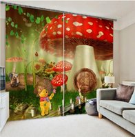 Wholesale 3D Curtains Kids Mushroom for bedroom Window Curtain Blackout Drapes Luxury designer rideaux pour le salon Modern Cartoon Cotton