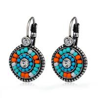 beach earings - Pendientes Etnicos Bohemia Clip Earrings Multi color Resin Beads Crystal Summer Beach Style Ear Cuff Earings for Women