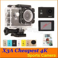 Caméra de plongée Caméra d'action X3A F60 4K 30fps Full HD 1080P 720P WiFi 30M aller caméra imperméable Allwinner V3 Sport DV Caméra 30pcs pas cher