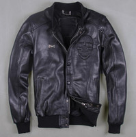 Wholesale Fall new European real leather men standing baseball uniform men code leather jacket short jacket short coat black skull coat