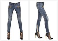 Wholesale 2016 Fashion Women BALMAIN Blue Wash Skinny Zip Ankle Motorcycle Biker Jeans Brand New Size