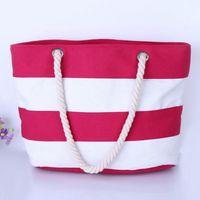 beach ladies handbags - 2016 Women Beach Canvas Bag Fashion Color Stripes Printing Handbags Ladies Large Shoulder Bag Totes Casual Shopping Bag