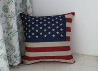 Wholesale 1 Cotton Linen USA Flag Star Stripe Pillow Square Cover Cushion Case quot