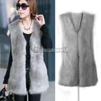 Wholesale Sell Rabbit Fur Coat - Hot Selling Winter 2016 Fashion New Women Faux Rabbit Fur Gilet Vest Waistcoat Sleeveless Jacket Coat 5 Color