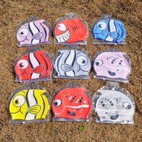 Wholesale New cute children s cartoon swimming cap Fish swim hat silicone cm baby swimming cap C655