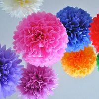 ball garland - Tissue Paper Pom Flowers Paper Flower Ball Wedding Decoration Birthday Party Decorative Paper Garlands Window Marriage Room Layout Supplies