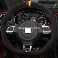 Wholesale XuJi Black Blue Genuine Leather Black Suede Steering Wheel Cover for Volkswagen Golf GTI MK6 VW Polo GTI Scirocco R