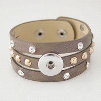 Wholesale Single Custom Snaps Button Jewelry Colors Bracelet PU Leather Buttons Snap Charm Bracelet KB0836