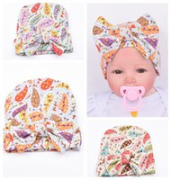 baby girl knit hat pattern - New Baby Girls Headbands Europe Style Pattern of leaves Printed knit Flange cap Baby Hat headwear colors Children Hair Accessories