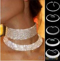 Wholesale Women Crystal Diamante Rhinestone Necklace Silver Plating Wedding Bridal Party Collar Choker Chain Necklace Jewelry Gifts b153