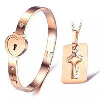 american lock keys - New Style Women Men Heart Lock Love Bracelet Key Necklace and Lock Bracelet Couple Jewelry