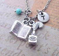 american writers book - 12pcs Silver Ink Pot Quill and Book Charm Necklace Personalized Hand Stamped Initial Birthstone Monogram Writer Charm Necklace