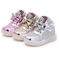 Wholesale Children Kids LED Lighted Shoes Tiny Bows Cartoon Baby Girls Sneakers Luminous Athletic Sport Shoes Breathable Colorful Flashing Shoes