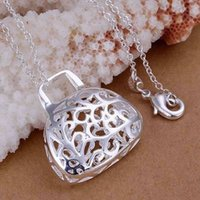 bags singapore - Silver fashion jewelry Necklace pendants Chains silver necklace The stereoscopic bags falling tofw rhpl