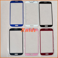 Wholesale Outer Front Glass Lens For Samsung Galaxy S4 I9500 Touch Screen Cover Dark Blue Pink Red White Black Sky Blue free DHL