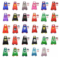 Wholesale Gold Hands Double side Kids Superhero Cape cm CAPE MASK set Superhero Batman Spiderman Supergirl ninja turtle kids Party capes
