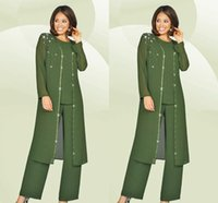 army of brides - 3 Pieces Formal Mother Of the Bride Pants Suits Long Sleeves Beads Chiffon Plus Size Army Green Mother Dress Evening Gowns Plus Size
