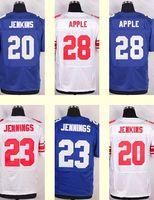 apple football - 2016 New Men s Janoris Jenkins Eli Apple Rashad Jennings White Blue Top Quality jerseys Drop Shipping