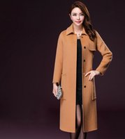 Wholesale 2016 autumn and winter new woolen coat female long section knees thick thin Korean wool woolen coat lapel double sided it