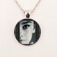 audrey necklace - Audrey Hepburn Necklace Audrey Hepburn Pendant Audrey Hepburn Jewelry Girls Glass Cabochon Necklace