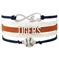 Wholesale Custom Infinity Love Detroit Tigers Baseball Sport MLB Team Bracelet Sports friendship Wax Cords Leather Wrapped Bracelet Drop Shipping