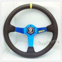 Wholesale 33CM quot RED MOMO PVC Carbon Fibre Leather Deep Dish Sport Racing Steering Wheel w BK Alloy Spoke exquisite embrodery logo as picture show