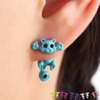 Wholesale Fashion Kitten Animal Multiple Color Classic Cute Cat Puncture Ear Stud Piercing Earrings Crystal Alloy For Women Girls