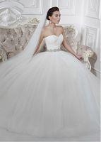 Wholesale 2016 Wedding Dress With Tulle Ball Gown Sweetheart Chapel Train Rhinestones Sash Lace Bateau Wrap Elegant Wedding Dresses DL10062