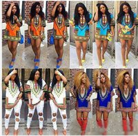 Wholesale 2016 women summer dress Traditional African Print Dashiki Dress Casual Straight Print O Neck Above Knee Mini dresses