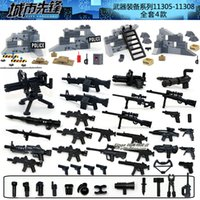 Wholesale 4sets Weapons Bag SWAT Police Sandbag Mortar Shield City Vanguard Marine Corps RPG M4 Gun Minifigures Building Blocks Toys