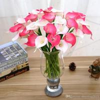 Купить Белые каллы-Урожай Искусственные цветы 100 частей / серия Мини-фиолетовый в белый Калла Букеты для невесты Свадебный букет Украшение Фиктивный цветок