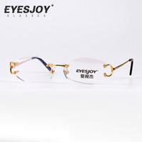 optical frame - Rimless Optical Clear Lens Glasses Eyeglasses Frames Myopia Metal Frame Reading Luxury Eye Glasses Men for Women CT4193826