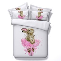 ballerina comforters - JF Princess girls Rabbit ballet dancer print bedding sets king size D duvet cover set Ballerina Bunny queen kids bed sheets