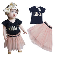 Cheap Baby kids Clothing Set 2016 Baby Gril t-shirts+tutu skirt Clothes toddler clothes summer kids clothes sets children clothing