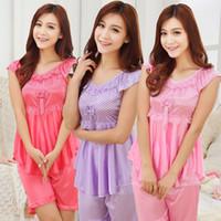 Wholesale Short Pyjamas Women - New Summer Ladies Pyjama Sexy Silk nightgown Short sleeved Lace Nightwear Rose Pajamas Set Two piece Pijamas mujer Women Set