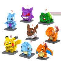 Wholesale 2016 style Poke pikachu DIY building blocks Poke Diamond blocks kids educational toys with box DHL shipping E472