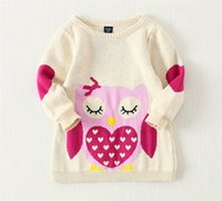 Wholesale 2016 new fashion autumn winter children s clothing baby girls hedging wool skirt cartoon owl long sweater o neck long sleeve top