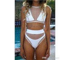 Cheap 2016 Women's Sexy Mesh fabric Bikini set Steel bracket Gathered Chest Swimsuit high waist bikini Swimwear Beachwear Bathing Suit