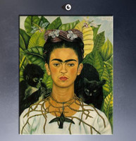 art frida - self portrait with necklace of thorns By Frida Kahlo Top Quality Genuine Handmade Portrait Art oil Painting On Canvas customized size