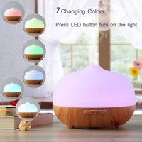 Wholesale Wood Grain Glass Aromatherapy Aroma Diffuser Ultrasonic Frosted Glass Ultrasonic Aroma Essential Oil Diffuser with Color Lights ml