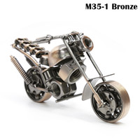 Wholesale Bronze Black Handmade Metal Motorcycle Model Wrought Iron Home Desk Study Room Decoration M35