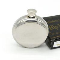 Wholesale oz Hip Flask Round Stainless Steel Flagon Wine Bottle Mirror Surface Men s Pocket Flask Portable Pocket Flagon