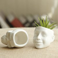 Wholesale White Ceramic Cool Skull Capita Plants Potted Small Flower Pot Planter Succulent Home Decor Desktop Ornaments
